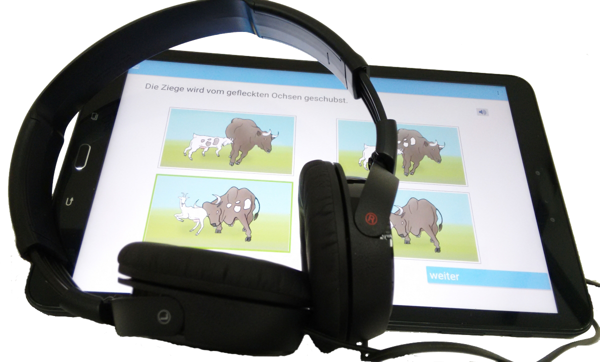 LSI.J-Tablet mit Kopfhörern