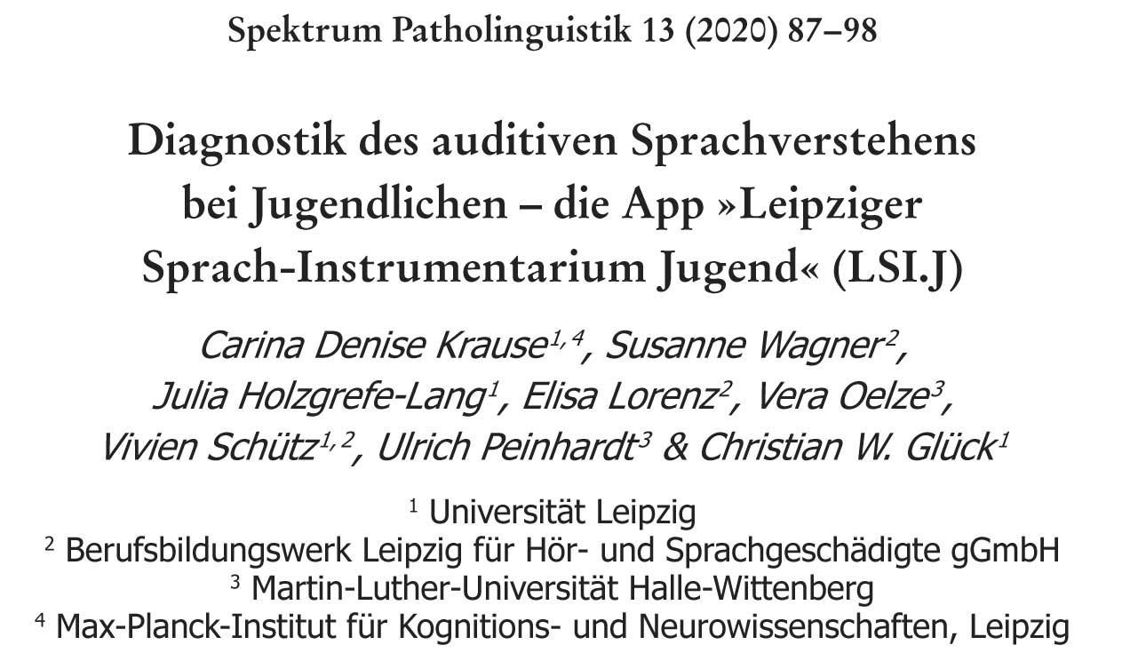Titel sowie Autorinnen und Autoren des LSI.J-Tagungsbeitrags beim Herbsttreffen Patholinguistik im Herbst 2019 in Potsdam